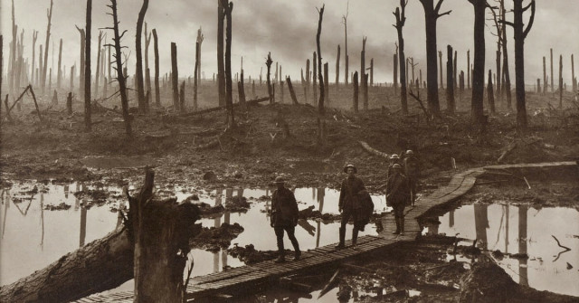 Soldiers of an Australian 4th Division field artillery brigade on a duckboard track passing through Chateau Wood, near Hooge in the Ypres salient, 29 October 1917. The leading soldier is Gunner James Fulton and the second soldier is Lieutenant Anthony Devine. The men belong to a battery of the 10th Field Artillery Brigade. Australian War Memorial collection number E01220.