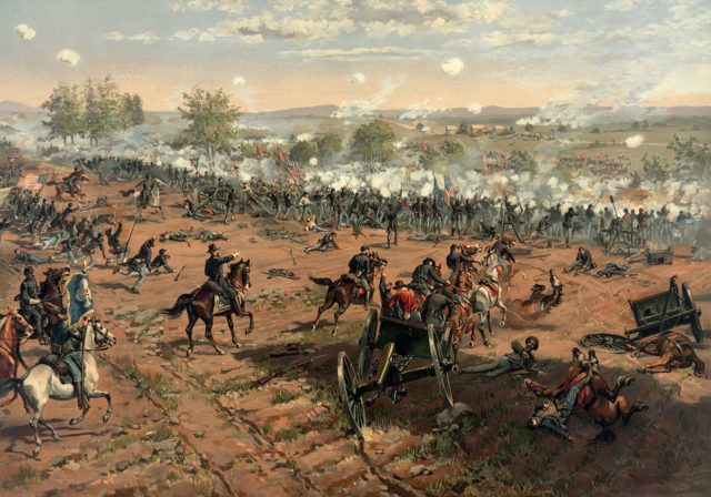 """Painting """"Hancock at Gettysburg"""" by Thur de Thulstrup, shows the battle. Photo via the Library of Congress and Wikipedia"""