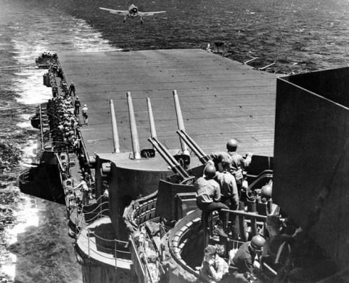 F6F-3 landing aboard Lexington (CV-16) — Task Force 58 flagship. By Official US Navy Photograph. (Enhancement by DLJ - Wild Surmise) - US Navy images, Public Domain,