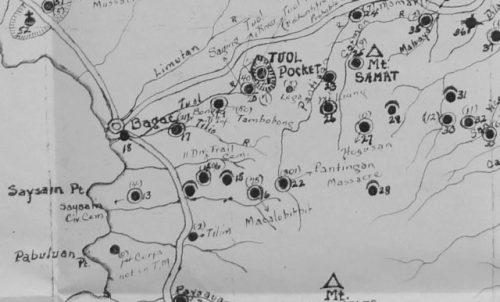 Portion of Bataan disinterment map highlighting the site of the 1942 Pantingan Massacre. Photo Credit.