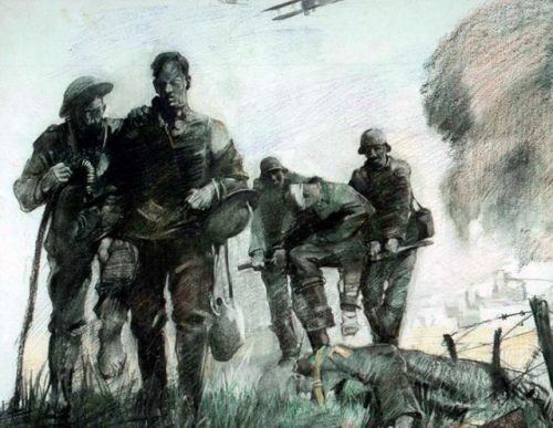 American Wounded Making Way To First Aid Station In The Village Of Marne During German Attack by George Matthews Harding. U.S. Army Center of Military History/George Matthews Harding/Public Domain