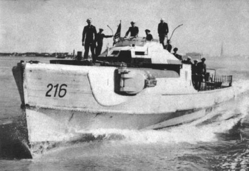 A captured German Schnell Boat, now being used by the US Navy.