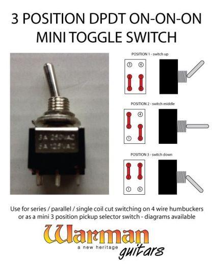 Warman Guitars mini toggle DPDT 3 position on-on-on