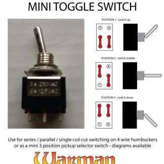 Warman Guitars mini toggle DPDT 3 position on-on-on
