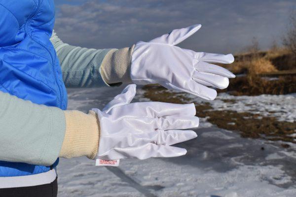 woman vapor barrier gloves close up