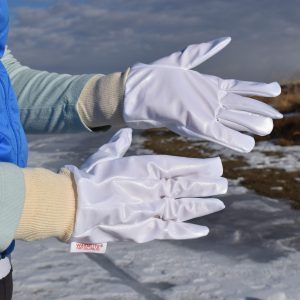 woman vapor barrier gloves close up