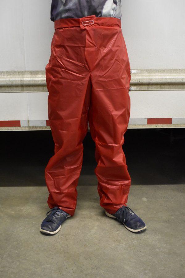 red rain pants