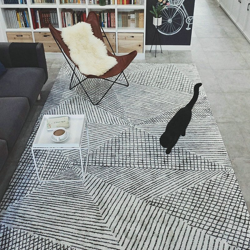 Geometric Stripes Area Rugs for Living Room