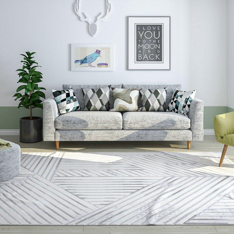 Softly Comfortable Area Large Grey Rug