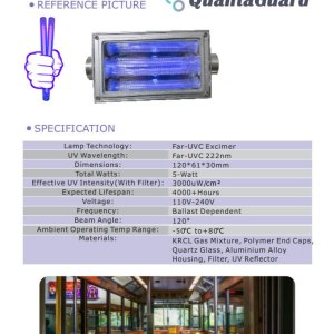 QuantaModule 5-Watt Far UVC Light Excimer Lamp Module Kit 24V DC 5w Far-UVC Light and Housing with 222nm Band Pass Filter