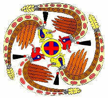 Feathered Serpents and Cross in a Circle Symbol