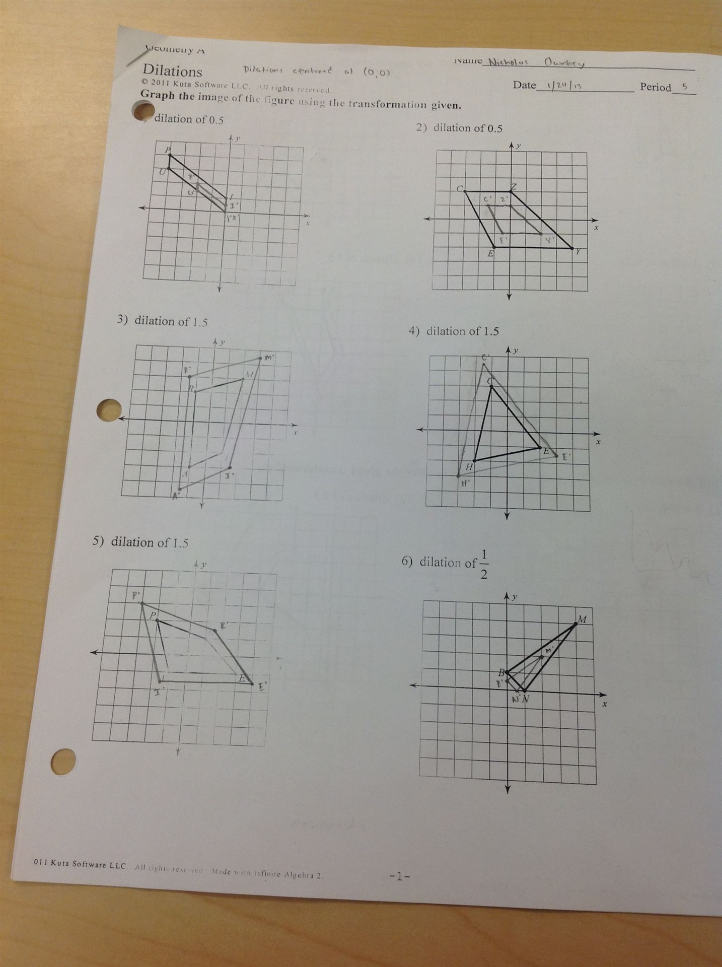 Geometry Dilation Worksheet
