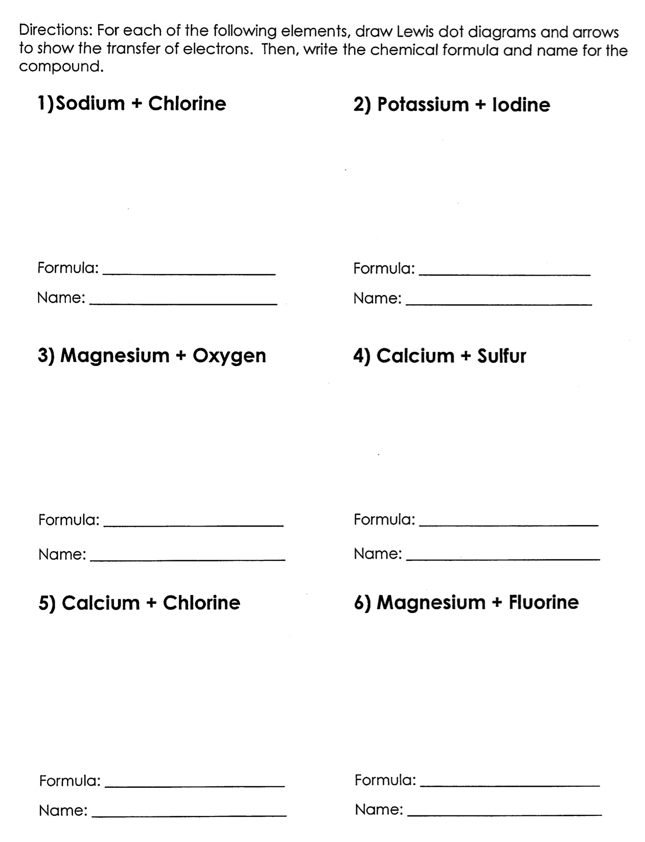 Student Exploration Ionic Bonds Gizmo Answer Key Activity