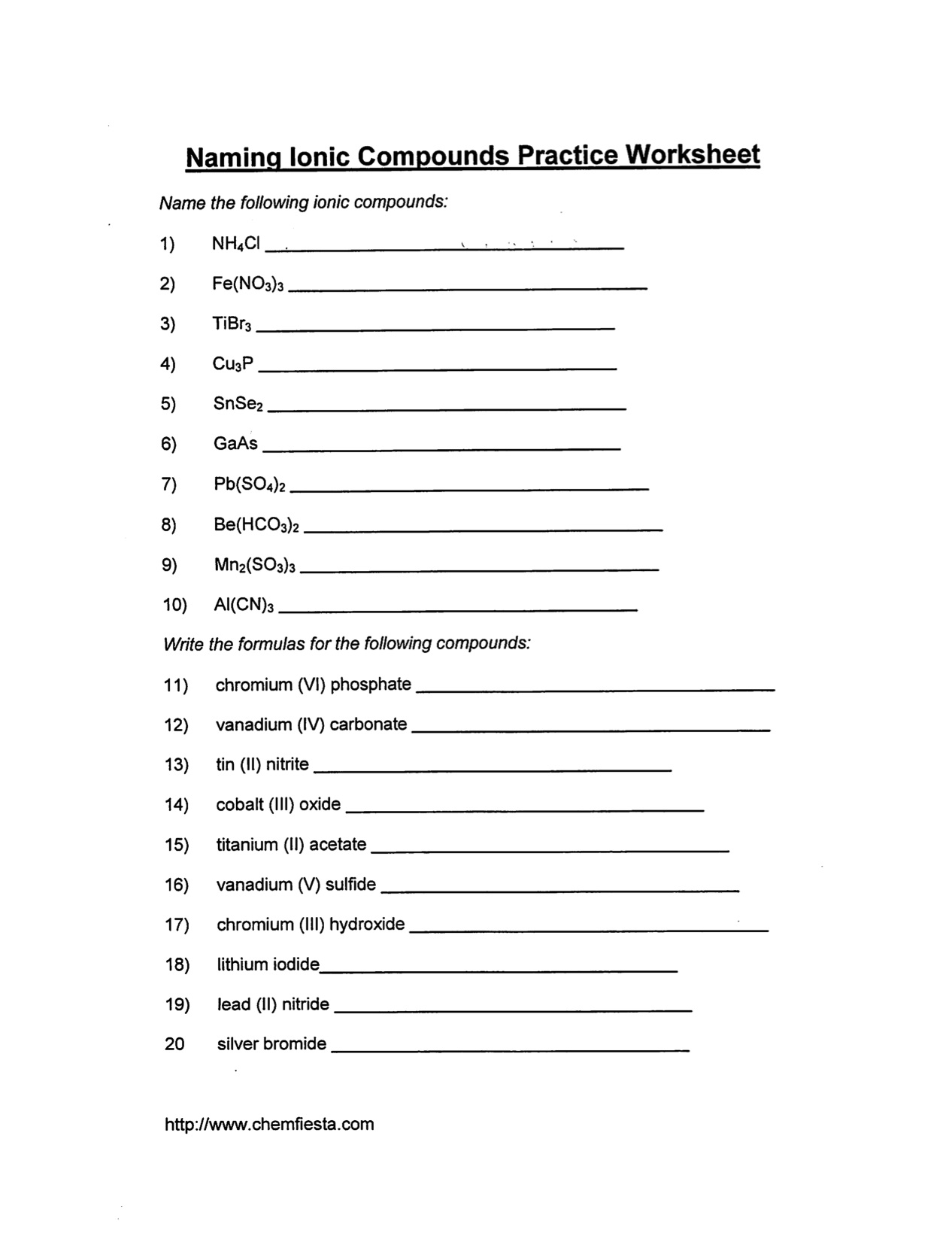 Nomenclature Worksheet 4 Ionic Compounds Containing