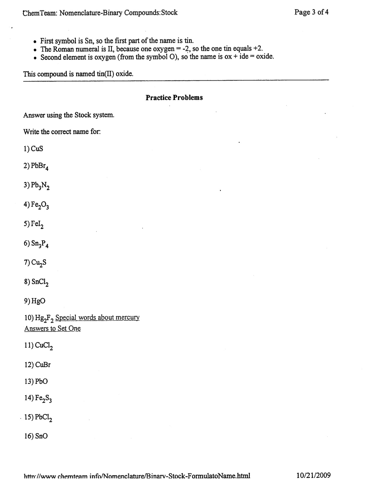 Chemical Formulas And Nomenclature Worksheet Answers