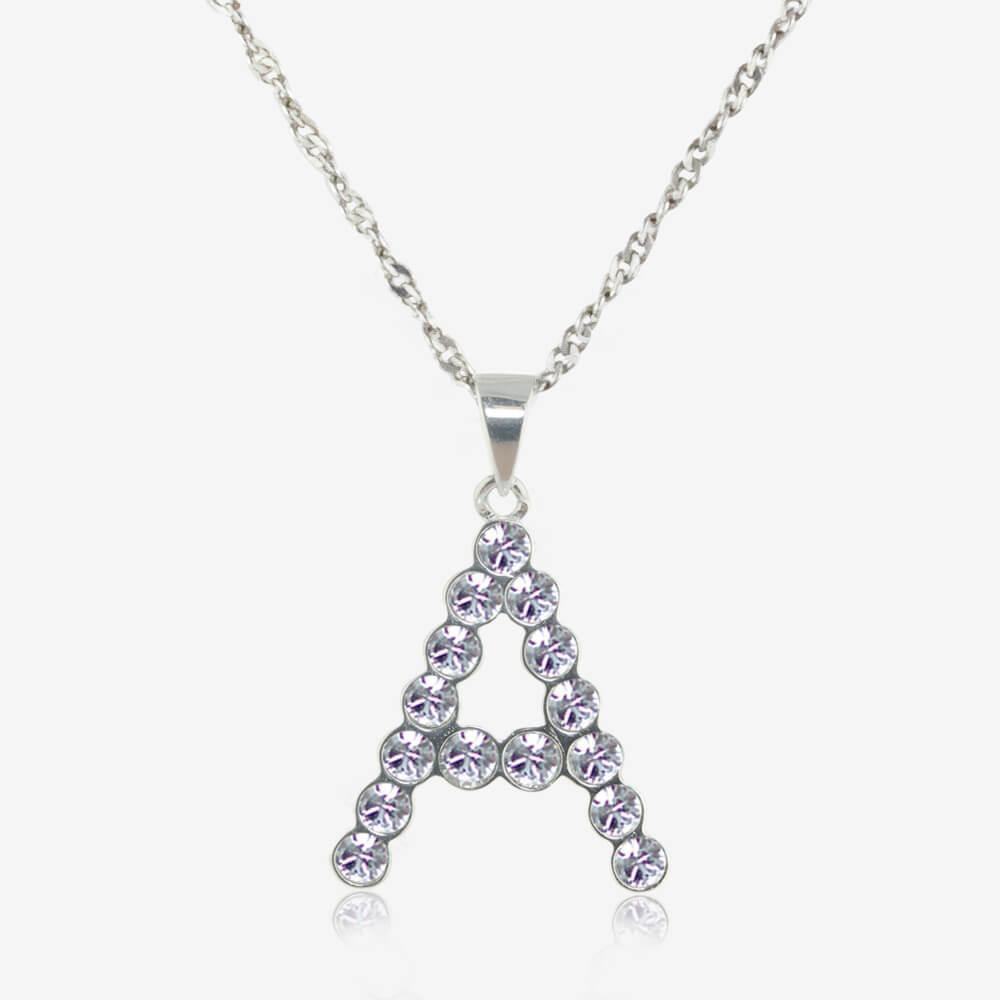 Sterling Silver A Initial Necklace Made With Swarovski