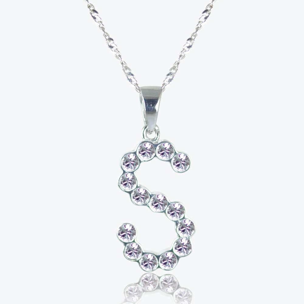 Sterling Silver S Initial Necklace Made With Swarovski