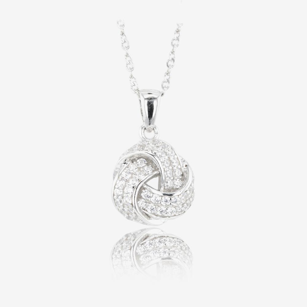 Sterling Silver DiamonFlash Cubic Zirconia Knot Necklace
