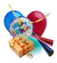Happy Birthday Ballons and Presents