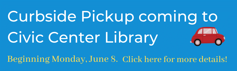 Blue banner showing curbside pickup beginning June 8