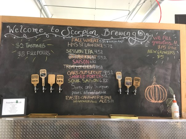 Scorpion Brewing Tap List