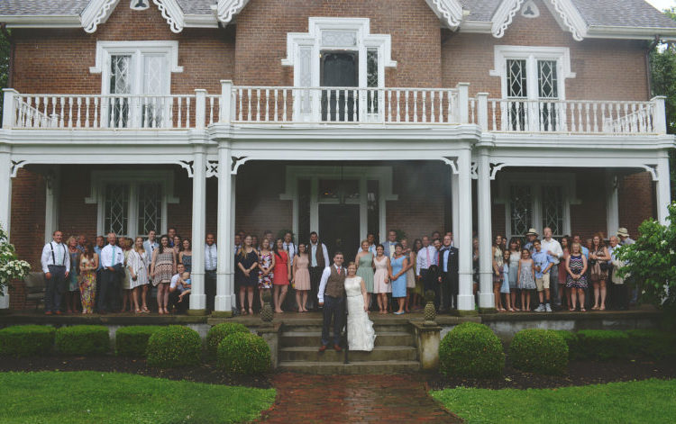 Wedding Guests on Warrenwood Manor Front Porch