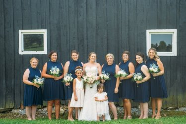 Bridal party in navy during KY farm wedding