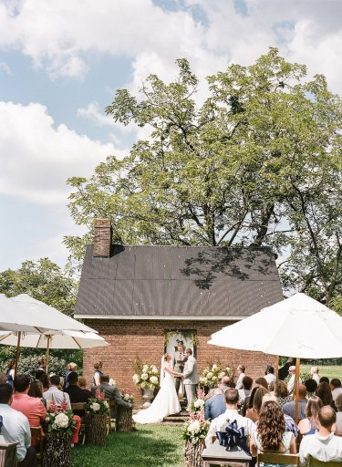 Classic rustic outdoor wedding ceremony