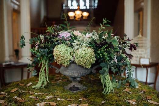 Flocal floral arrangement in center hall at Warrenwood Manor