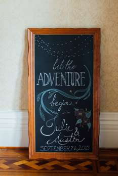 Handwritten chalkboard welcome sign with wooden frame