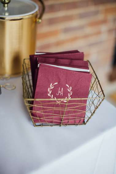 Personalized Cocktail Napkins in Burgundy