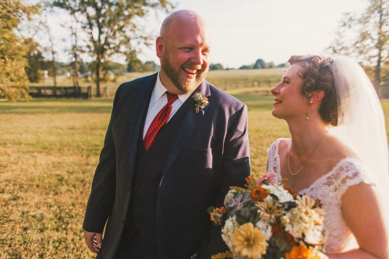 Bride & Groom at summer farm wedding, Photo by Cassie Lopez Photography