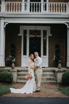 Rustic Country Bride & Groom portrait in front of historic rural estate, Warrenwood Manor