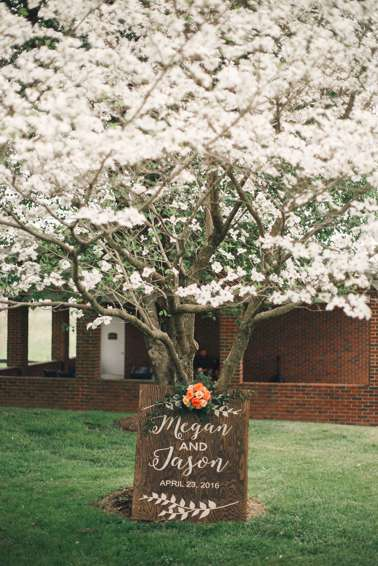 Spring Wedding Sign with Floral accents