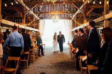 Rustic Vintage Wedding Ceremony in a barn