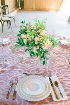 Spring pink and ivory tablescape