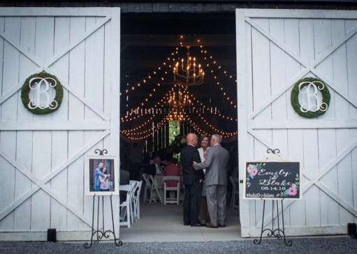 Wreaths on barn doors at Warrenwood barn