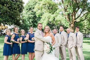 Traditional Southern Wedding Party in navy, khaki and ivory