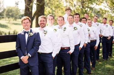 Dapper bridal party in navy and white