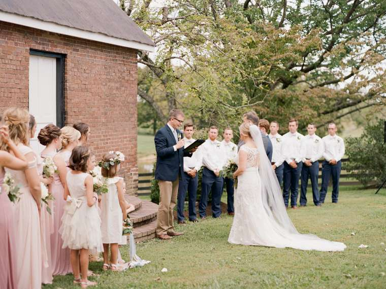 Blush, navy and white color palette for outdoor wedding in central Kentucky