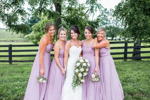 Bridal party dressed in light purple at Kentucky estate wedding