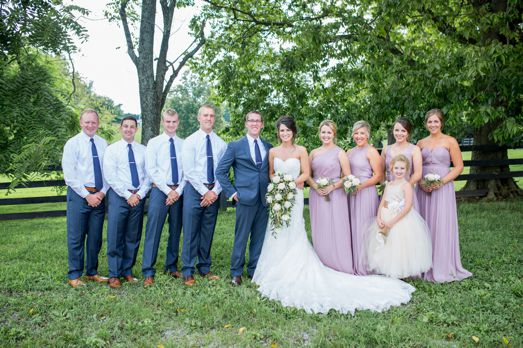 White, navy blue and lavender wedding party