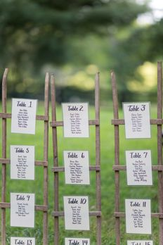 Rustic table assignment sign for outdoor southern wedding