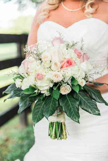 Tight white and pink bridal bouquet by Ellis Florists, photo by Emily Wakin Photography