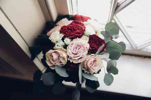 Garden rose bouquet, blush and red bridal bouquet by Wild Roots, Photo by Blessed Bee Photography