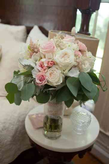 Soft pastel pink, blush and ivory with eucalyptus bridal bouquet by Swan's Landing, Photo by Christy Lee Photography
