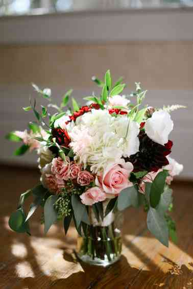 Red, pink and white bridal bouquet by Fields in Bloom, Photo by Daring Tales of Darling Bones