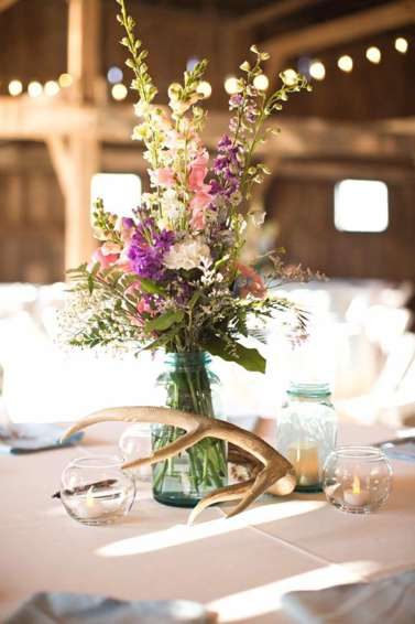 Spring pastel floral centerpiece in mason jar. Purple, pink & white. Honey Heart Photography.