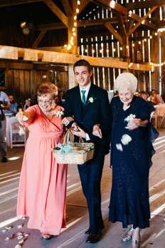 Grandmothers as flower girls at Warrenwood Manor wedding ceremony
