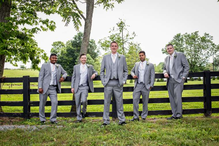 Groomsmen in grey for Kentucky farm wedding